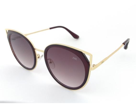 Óculos De Sol Feminino Dourado Lentes Marrom Degradê 17236