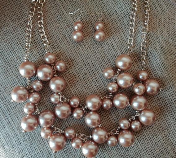 Set Collar Y Aretes De Perlas