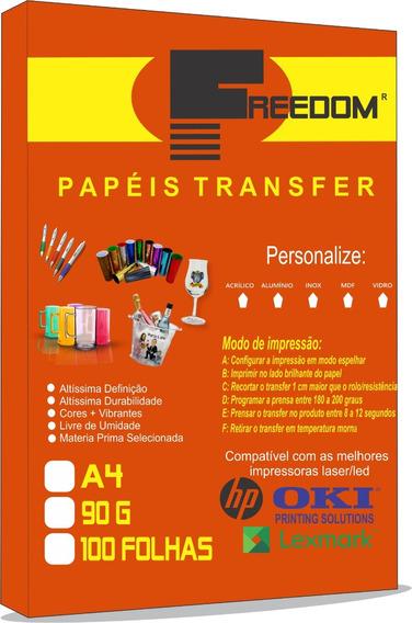 100 Folhas Papel Transfer Laser 90g Especial Freedom