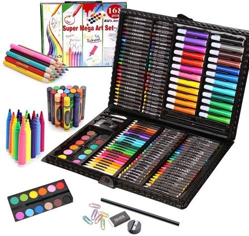 Kit Set Estuche De Arte Colores Acuarelas Pastel Crayolas