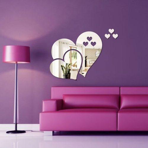 Espelho Decorativo - Acrílico Espelhado - Coração & Corações
