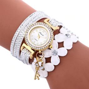 Relógio Fem De Pulso Quartzo Com Pulseira Luxo Branco Barato