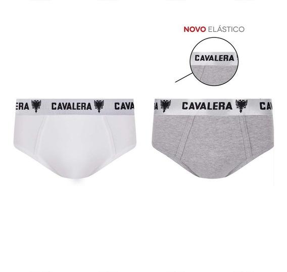 Kit 2 Cuecas Slip Cavalera Qe5487 0003-branco/mescla