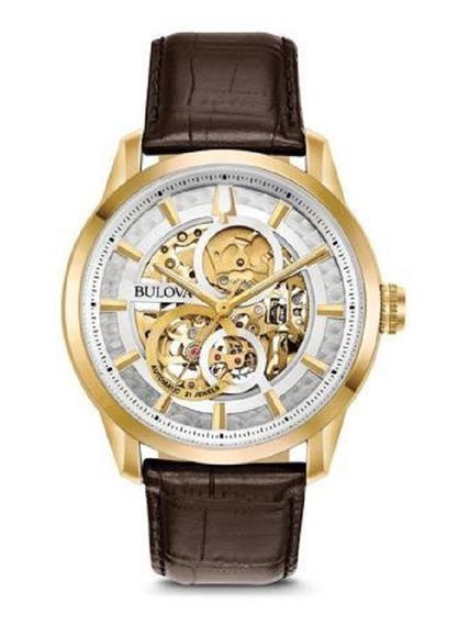 Relógio Bulova Masculino Automático 97a138 Esqueleto Dourado