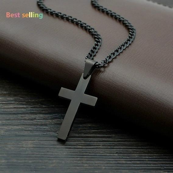 Pendiente Cruz Negra Con Cadena, Envío Incluido