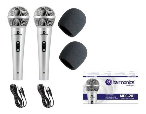 2 Microfones Profissionais Mdc201+ Cabos+ Espumas