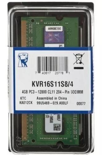 Kit 8gb (2x4gb) Ddr3 1600mhz Kingston Kvr16ls11- P/ Mac Mini