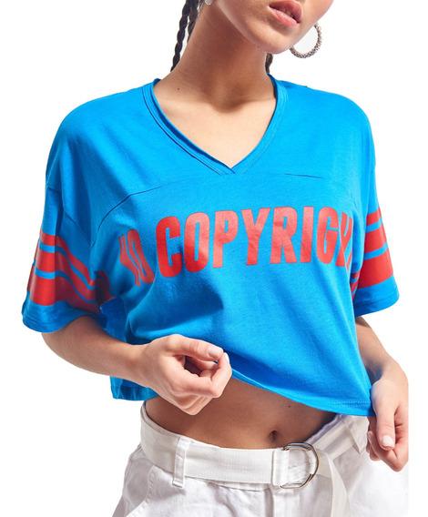 Remera Copyright Cuello En V Corta Mujer 47street