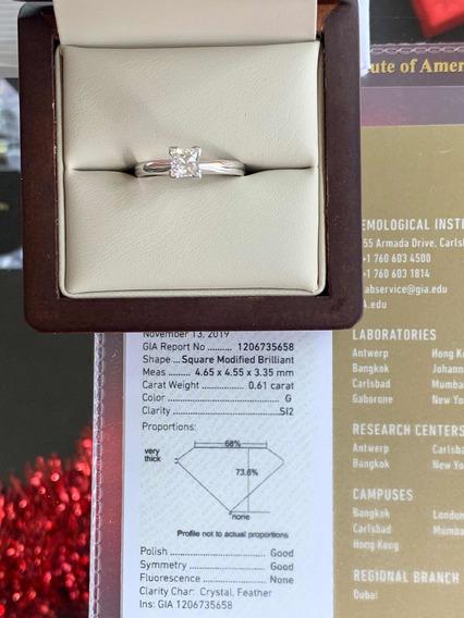 Anillo De Compromiso Diamante Gia .61ct G Si2 Princess Laser