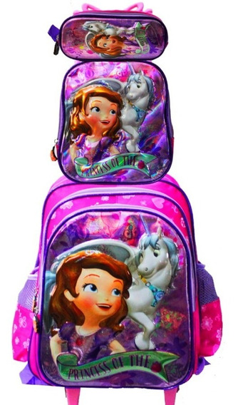 Kit Mochila Infantil Princesa Sofia 3d + Lancheira + Estojo