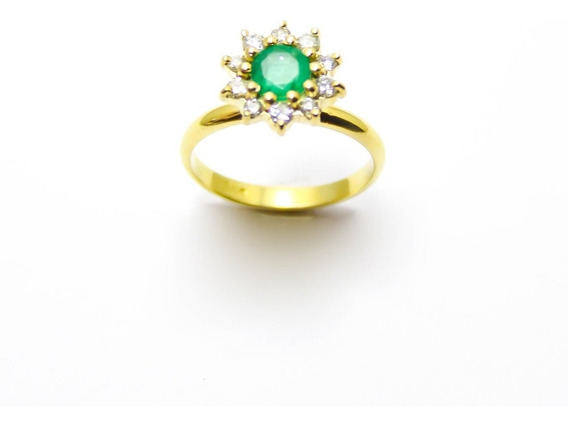 Anel Com Esmeralda E Diamantes Em Ouro 18k-750