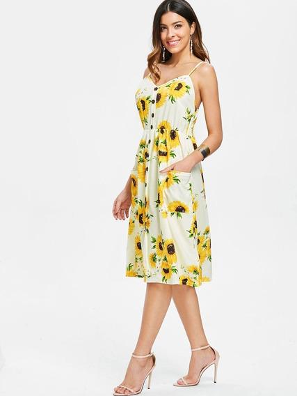 Mini Vestido Casual Impreso De Girasol Para Dama S-2xl