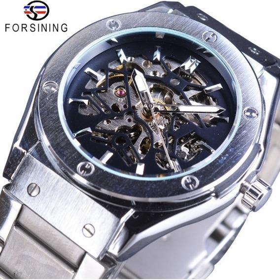 Relógio Forsing Aço Inox Skone Pulso Eskeleton Invicta
