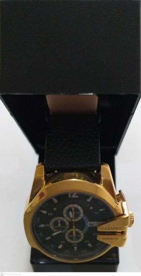 Relógio De Luxo Masculino Dourado Cagarny Na Caixa + Brinde