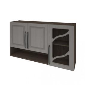 Armário De Cozinha 3 Portas Vidro Vazado 120cm Nora Ig