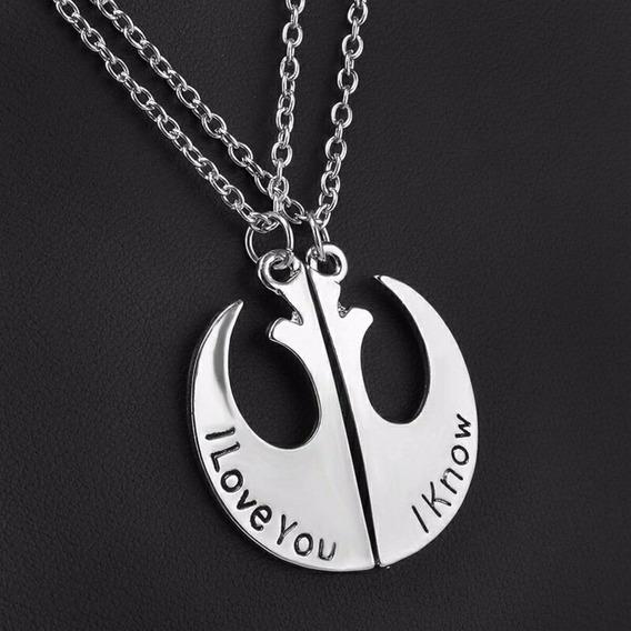 Colar Duplo Star Wars Guerra Nas Estrelas Simbol Resistência