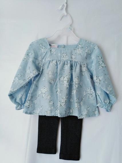 Conjunto De Blusa Y Mallas Para Niña 2, 4, 6, 8 Rosa Y Azul