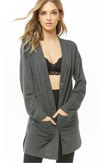 Forever 21 Bata Cardigan Sweater Pijama Largo Bolsas Gris