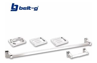 Accesorios Para Baño 5 Pzas Plastico Cromado Belt-g Gri-0046