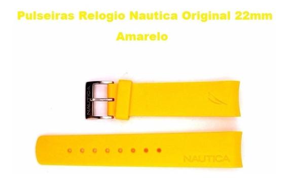 Pulseiras Relogio Nautica Original 22mm A31504g Cor Amarela