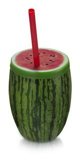 Copo Fruta Melancia Com Canudo 650 Ml Verde Com Vermelho