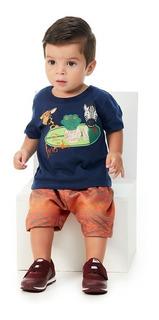Roupa Bebê Menino Conjunto Camiseta Bermuda Animais Abrange