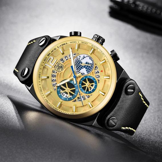Relógio Benyar Johnnie Walker Preto E Dourado 100% Original