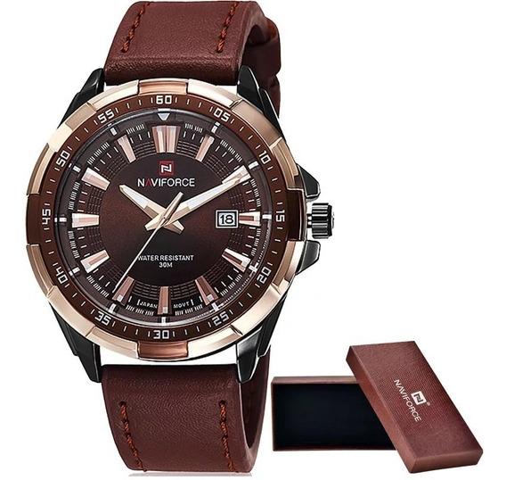 Relógio Naviforce Masculino Original Importado Couro Lindo