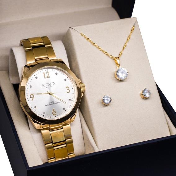 Relógio Feminino Nowa Dourado Nw1016k Com Kit Colar E Brinco
