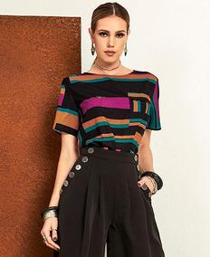 c3f6ef1002 T-shirt Tigrara Crepe Estampada Bolso Frontal