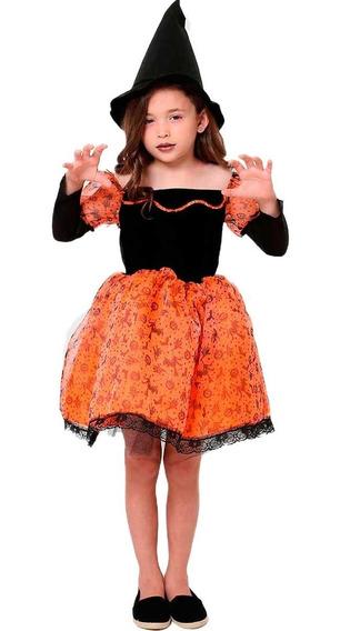 Roupa De Bruxa Jacy Luxo Infantil Feminina Halloween P Ao Gg