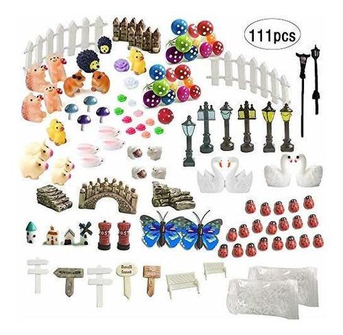 Imagen 1 de 7 de Inhe Juego De Adornos En Miniatura Para Jardin 111 Piezas