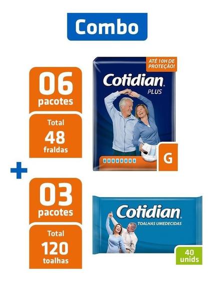 Combo 6 Pacotes Fralda Cotidian G + 3 Pcts Toalha Umedecida