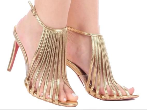 Sandalia Feminina Salto Alto Dourada - Envio Até 7 Dias