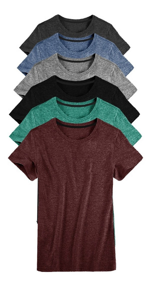 Kit 06 Camisetas Masculina Camisa Slim Fit Lisa Basic Basica