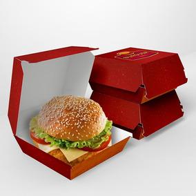 Caixa Embalagem De Hambúrguer Várias Cores 100un