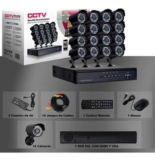 Kit 16 Camaras De Seguridad Hd 1080p Cctv Vigilancia Tienda