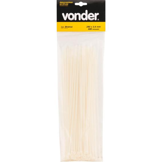 Abraçadeira De Nylon 100x2,5mm Branca Com 20 Peças - Vonder