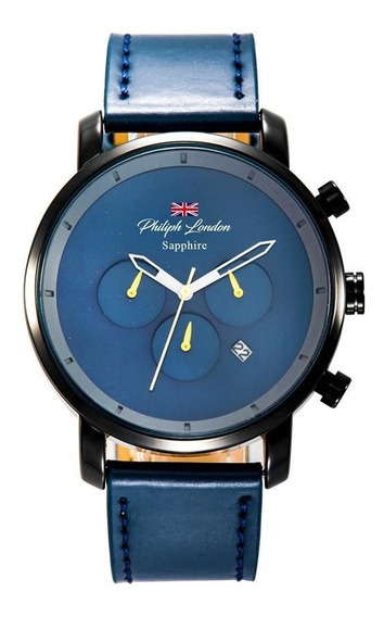 Relógio Philiph London Masculino Pl80109612m Az Safira Black