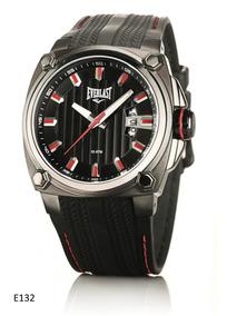 Relógio Everlast Caixa Aço E Pulseira Couro E132