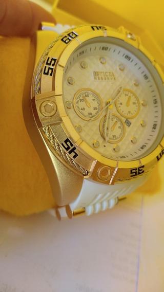 Relógio Masculino Pulseira Branca Com Dourado Pesado Na Caix