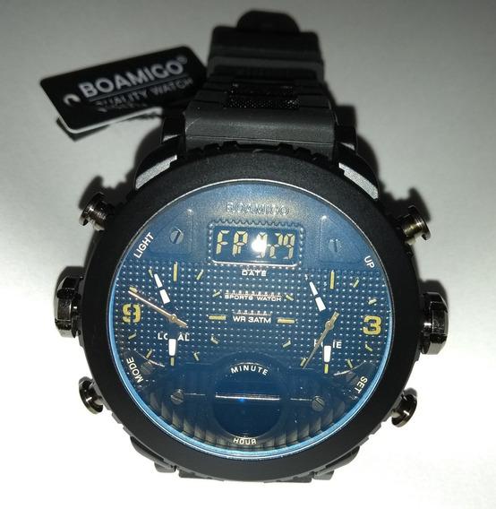 Relógio Pulso Masculino Preto Dourado Boamigo 1284 Promoção