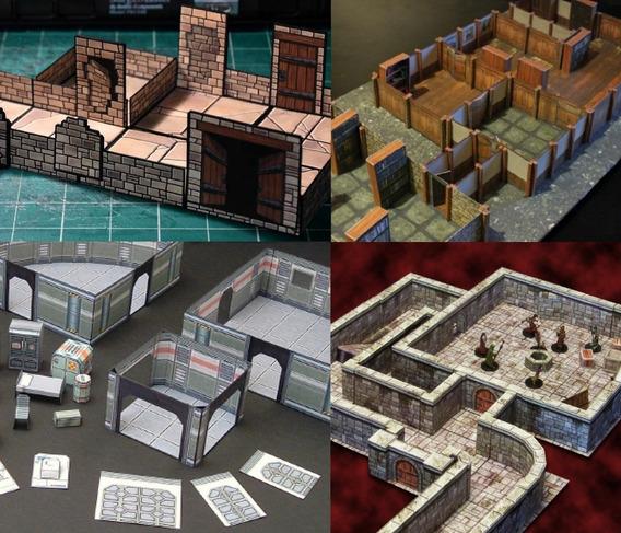 Muros Paredes Rpg Dungeons Zombicide Syfy Papercraft Cenário