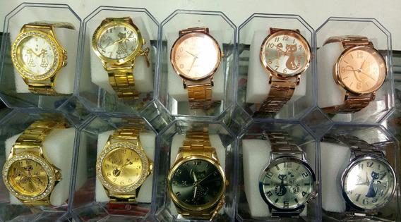 Kit C/10 Relógios Feminino Dourado Caixas Atacado Fr. Gratis