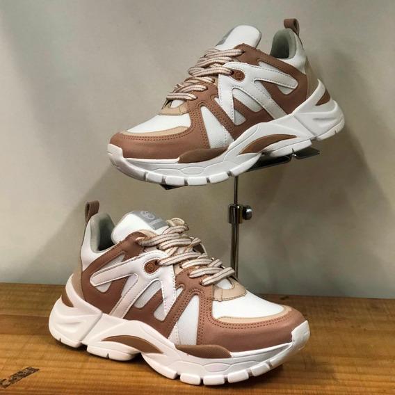 Tênis Via Marte Chunky Sneaker Branco Marrom Verão 2020 - At