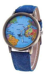 Reloj Mapamundi (azul)