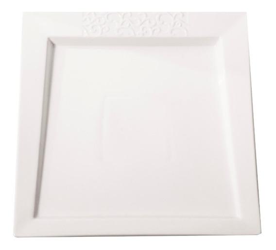Platón Porcelana Vajilla Cuadrada 10,5 Blanca Crown Bacccara