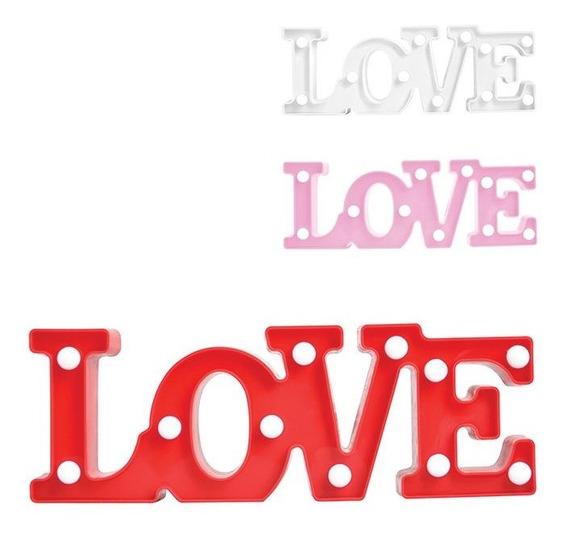 Luminária Love Abajur Led Amor Enfeite Luz Decoração Festa