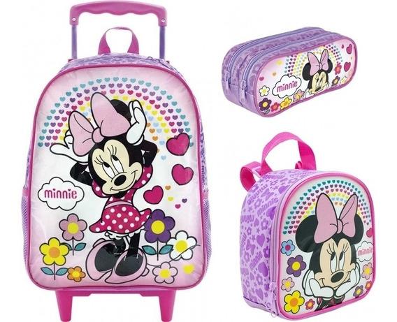 Kit Mochila Infantil Minnie Rosa Original Tam G + Brinde