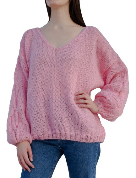 Sweater Diana Rosa Pálido Oversized Mujer Tejido A Mano